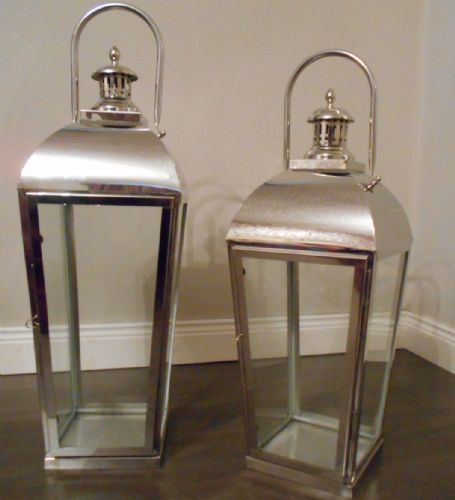 Polished Stainless Steel Taper Lantern (Set Of 2)